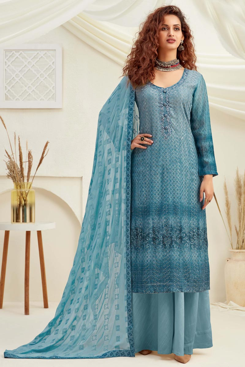 Embroidery Work Sky Blue Color Viscose Fabric Palazzo Salwar Suit