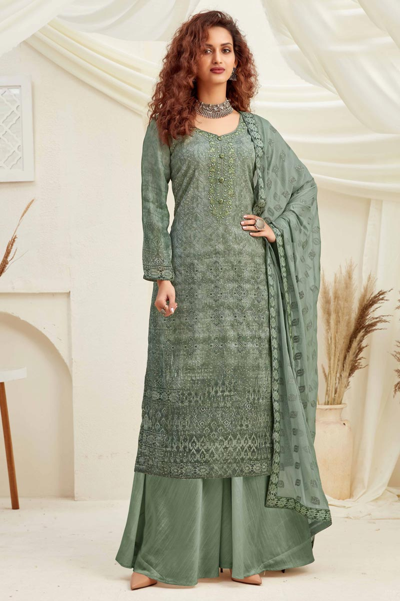 Sea Green Color Embroidered Viscose Fabric Party Wear Palazzo Salwar Kameez