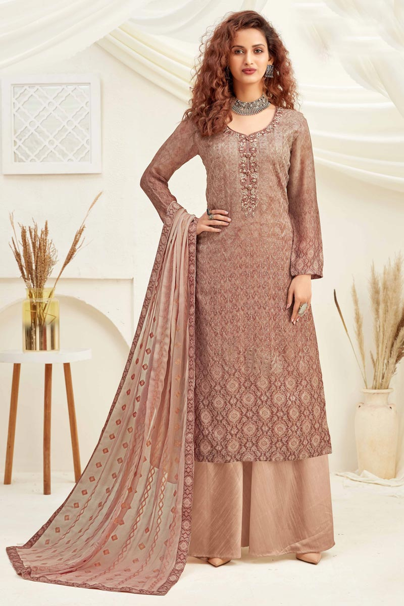 Embroidery Designs Chikoo Color Viscose Fabric Function Wear Palazzo Salwar Suit