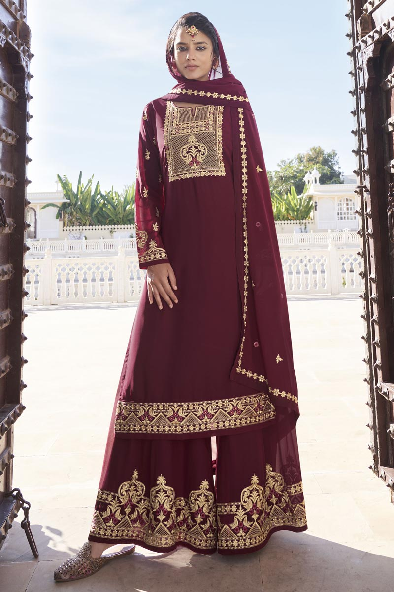 Maroon Color Function Wear Trendy Readymade Sharara Suit In Georgette Fabric