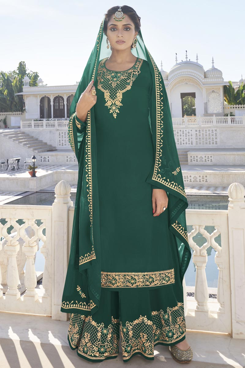 Function Wear Trendy Dark Green Color Georgette Fabric Readymade Sharara Dress