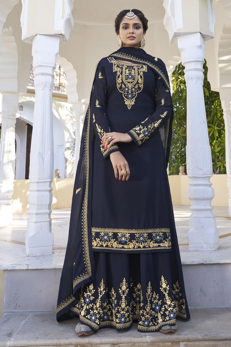 Georgette Fabric Navy Blue Color Function Wear Trendy Readymade Sharara Suit