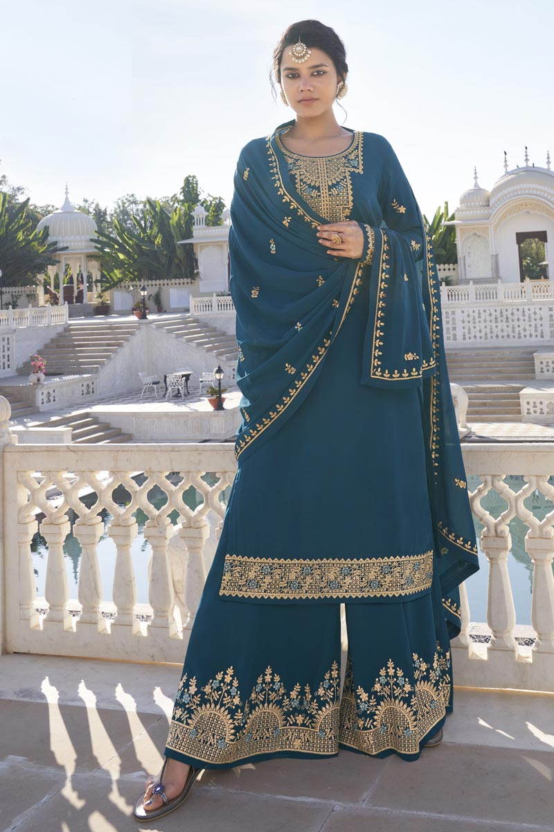 Function Wear Trendy Teal Color Readymade Sharara Dress In Georgette Fabric