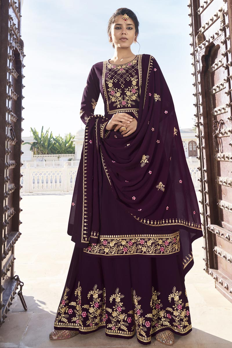 Purple Color Function Wear Georgette Fabric Trendy Readymade Sharara Suit