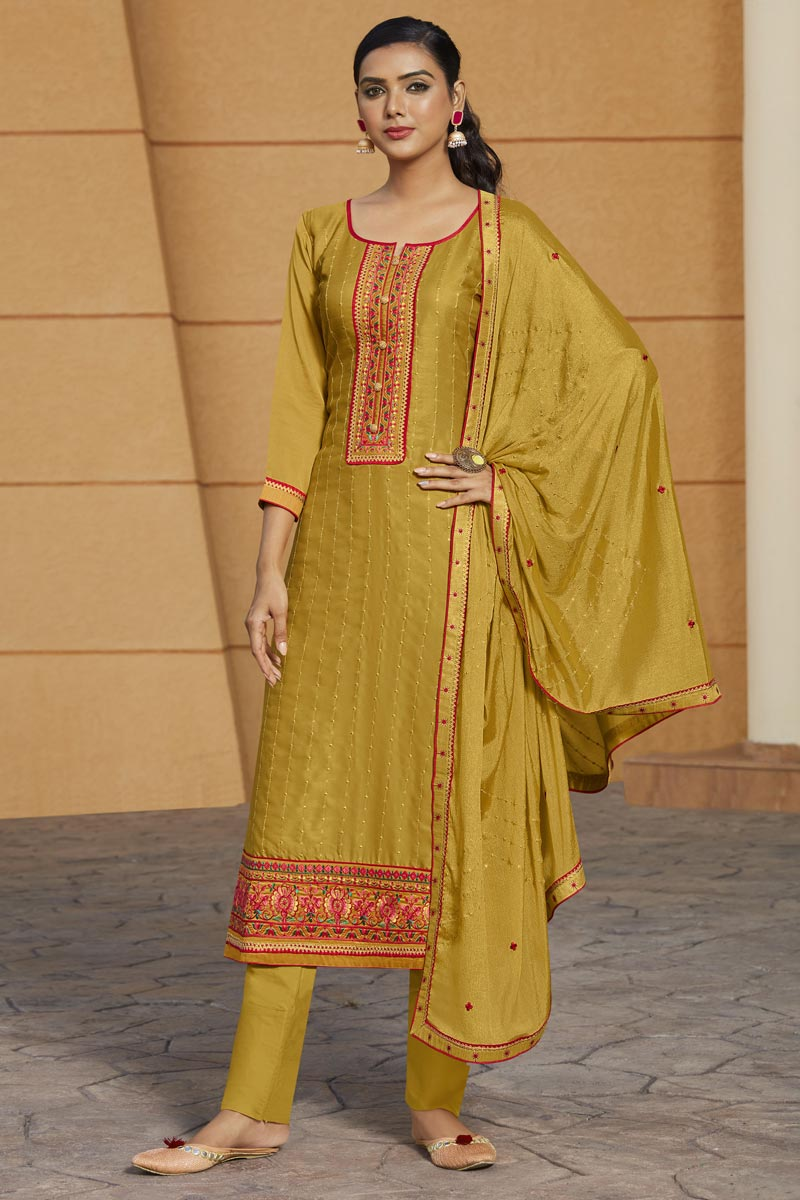 Mustard Color Embroidered Salwar Kameez