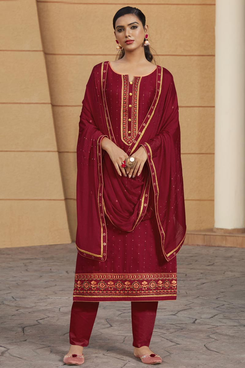 Satin Fabric Maroon Color Party Wear Salwar Suit