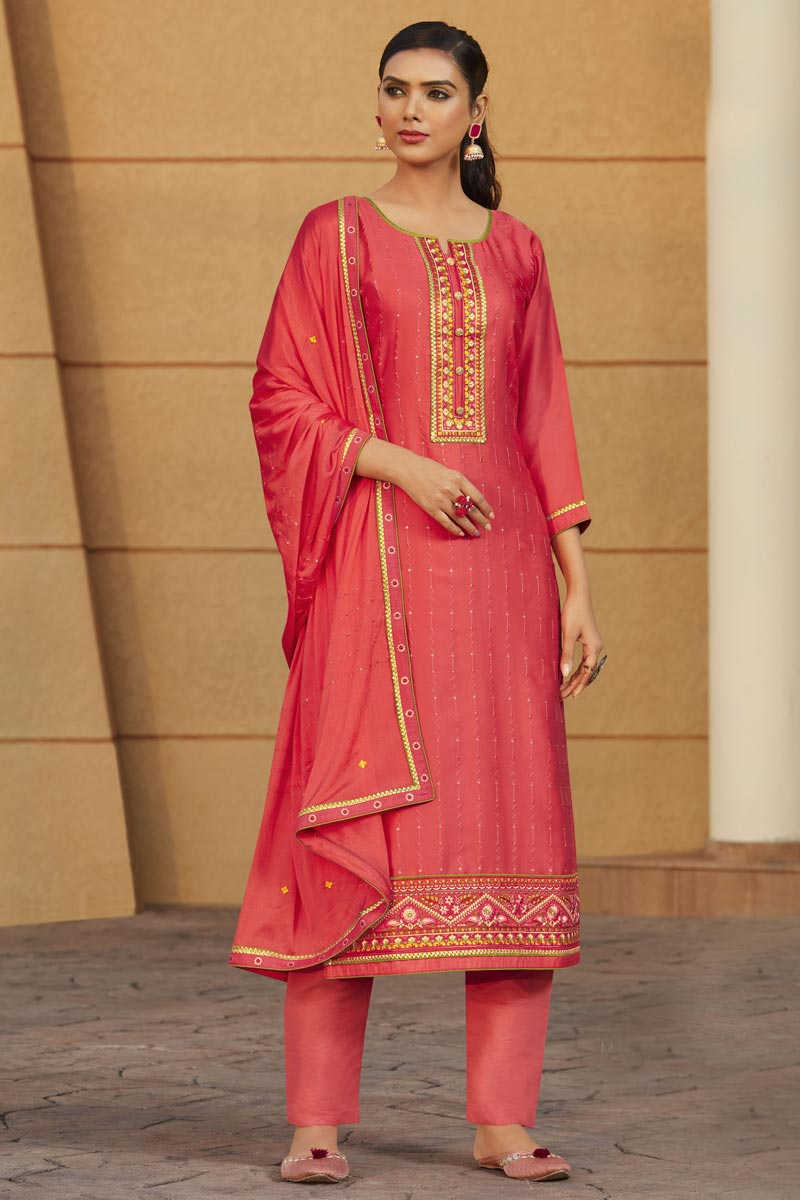Occasion Wear Peach Color Embroidered Salwar Kameez