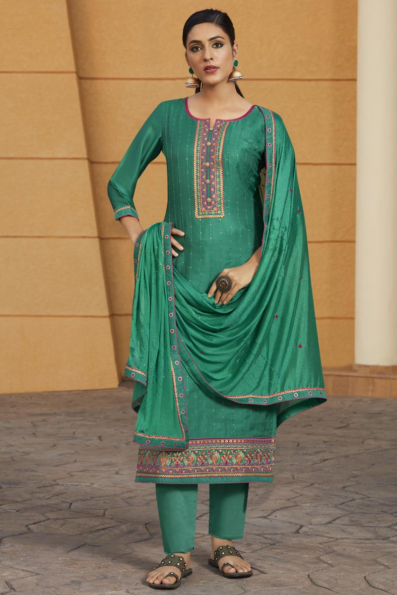 Embroidery Work Green Color Satin Fabric Salwar Suit
