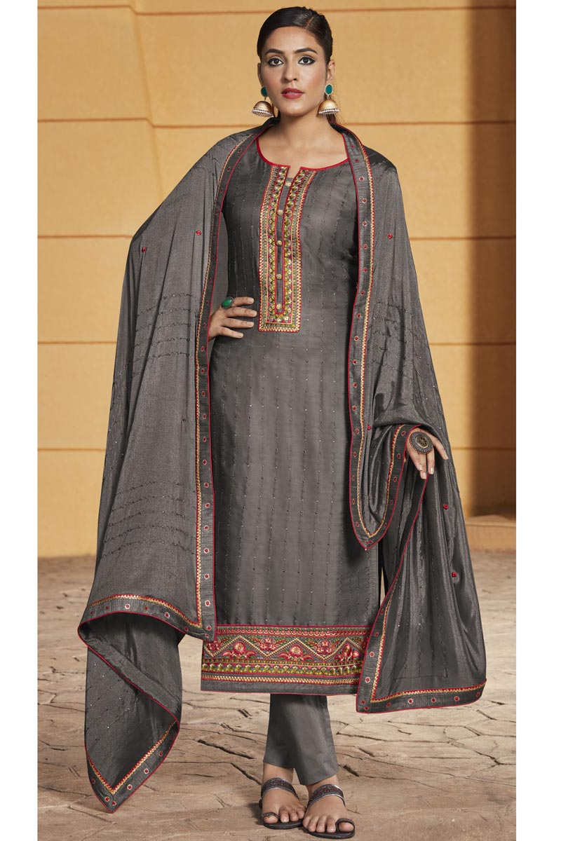Satin Fabric Grey Color Function Wear Salwar Suit
