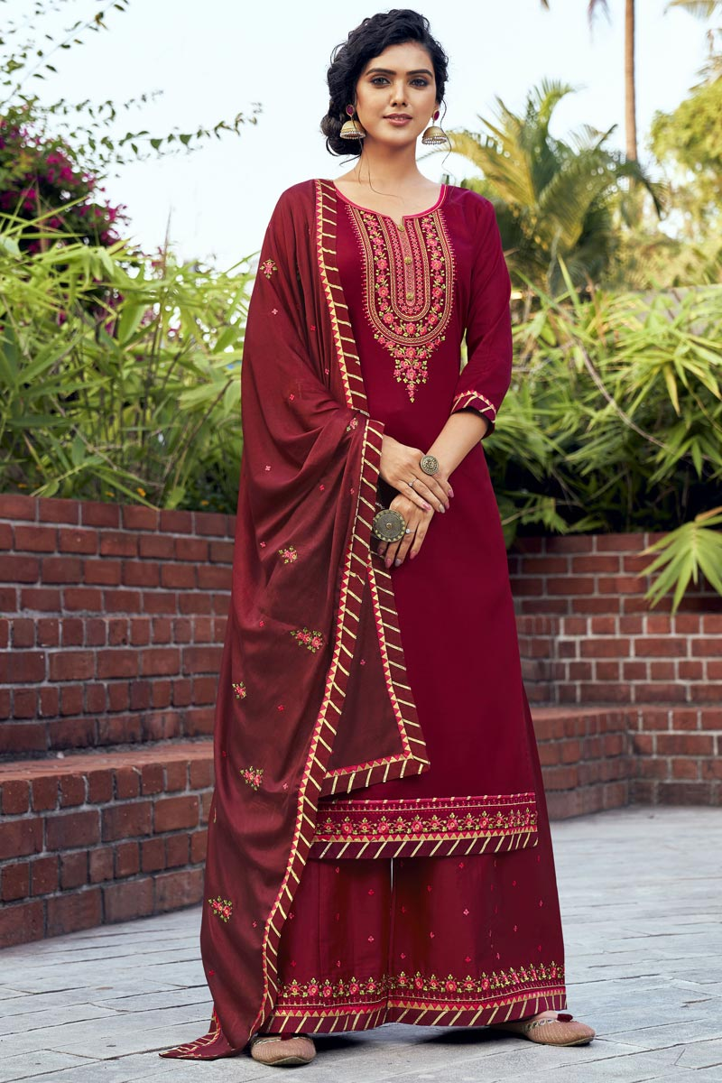 Maroon Color Embroidered Cotton Silk Fabric Party Wear Palazzo Salwar Kameez