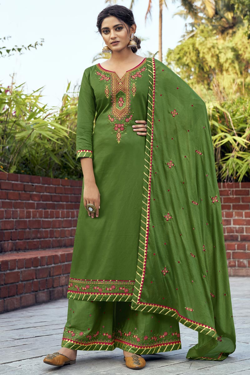Embroidery Work Green Color Cotton Silk Fabric Function Wear Palazzo Salwar Suit