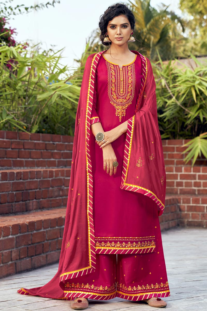 Embroidered Cotton Silk Fabric Rani Color Function Wear Palazzo Suit