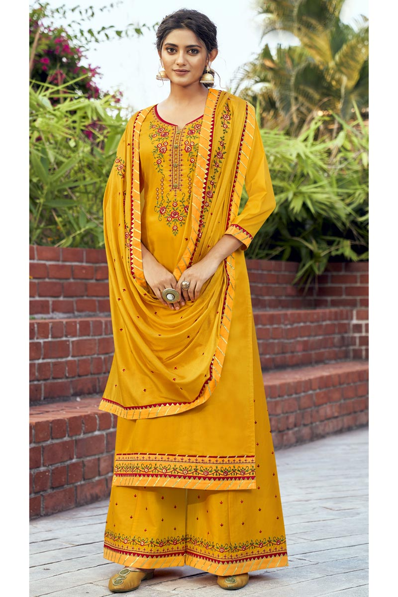 Cotton Silk Fabric Mustard Color Function Wear Palazzo Salwar Kameez