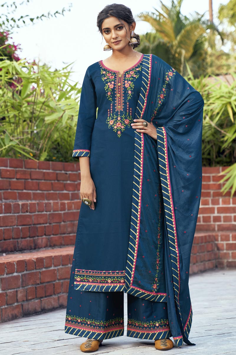 Navy Blue Color Cotton Silk Fabric Occasion Wear Palazzo Suit