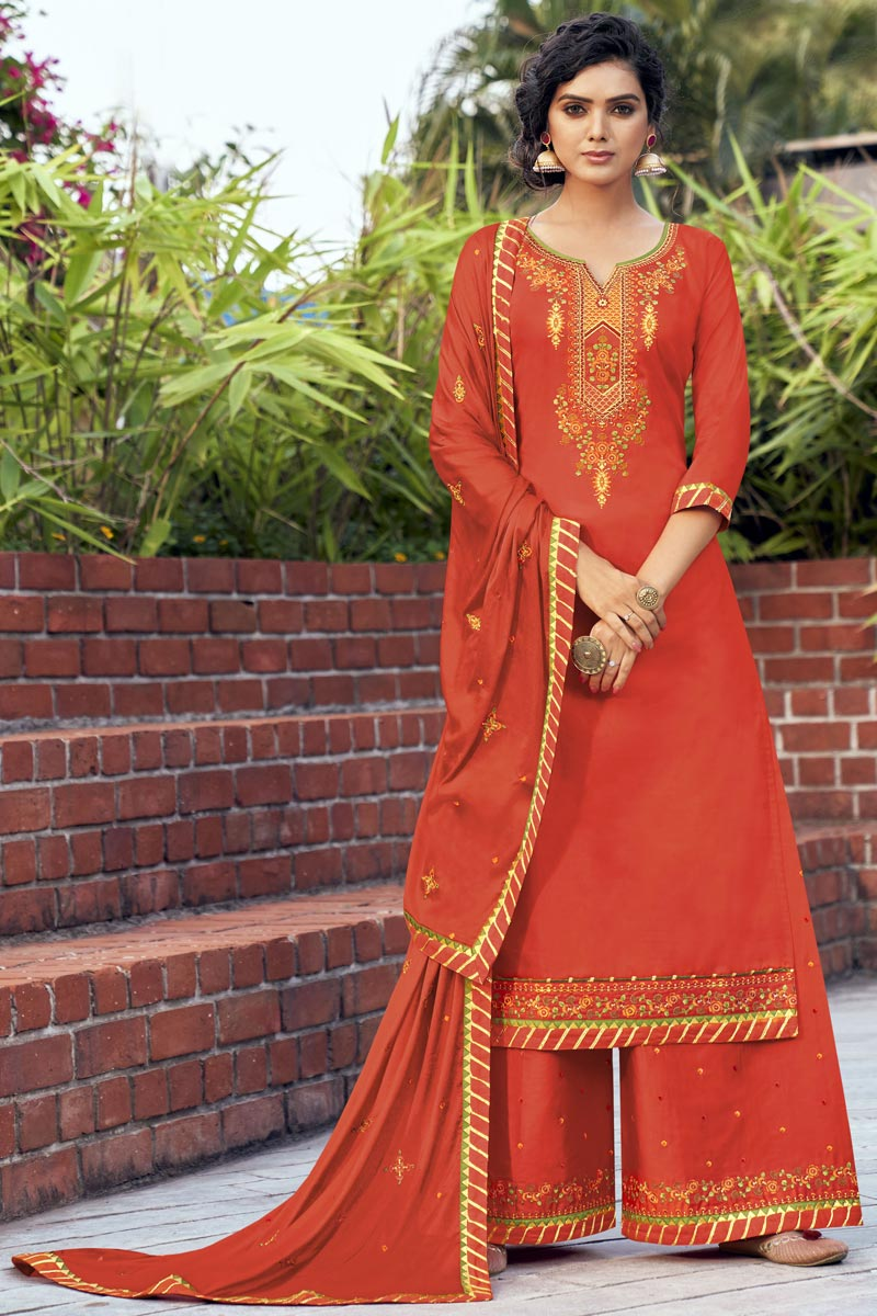 Orange Color Cotton Silk Fabric Function Wear Embroidered Palazzo Suit