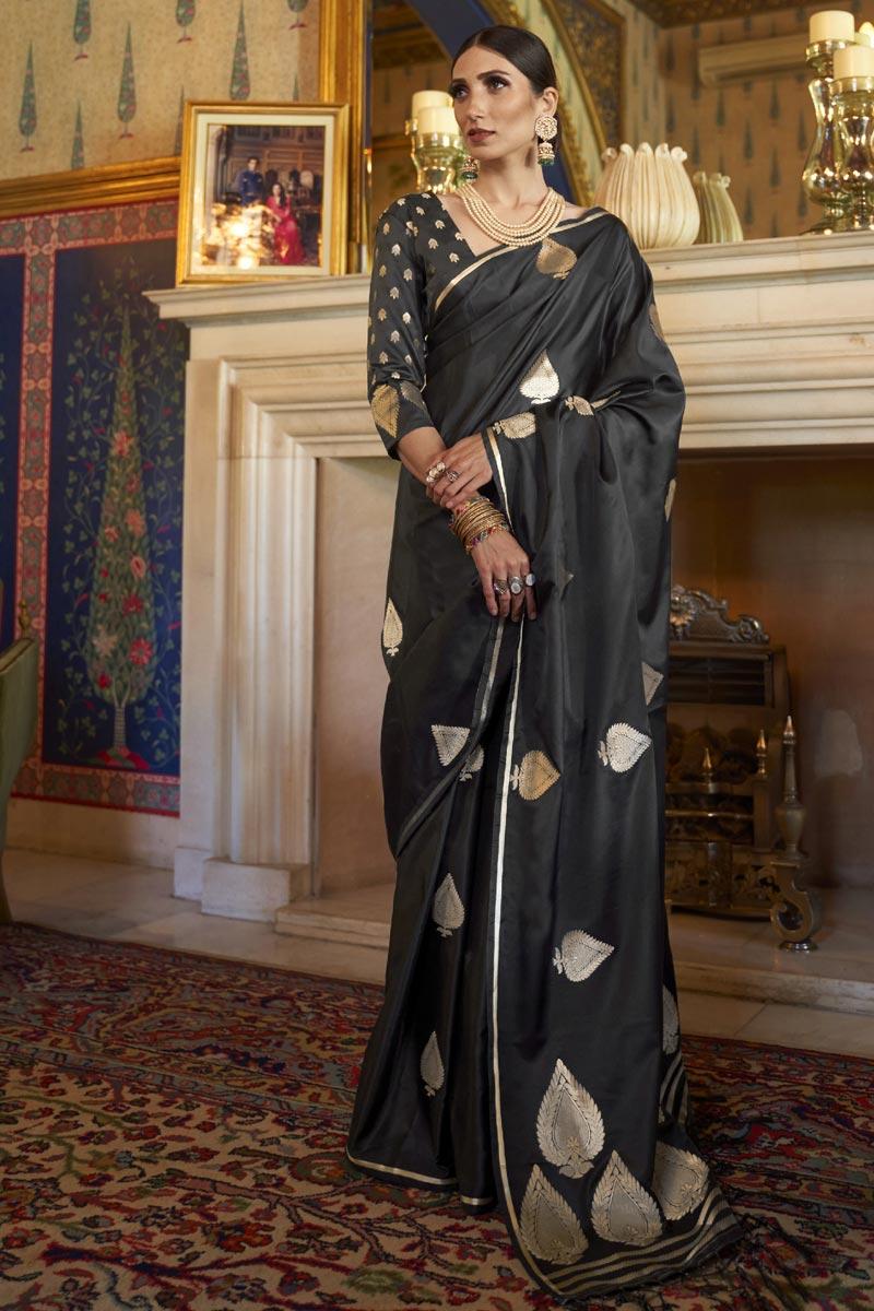 Black Puja Wear Satin Silk Fabric Fancy Weaving Work Saree