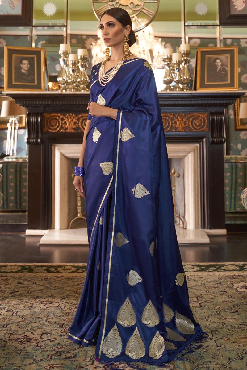 Satin Silk Fabric Puja Wear Fancy Blue Weaving Work Saree