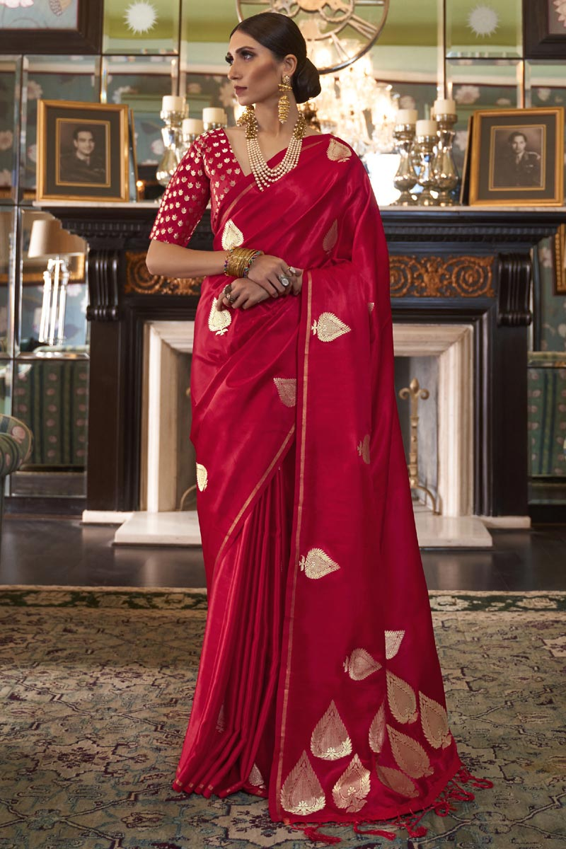 Puja Wear Red Fancy Satin Silk Fabric Weaving Work Saree