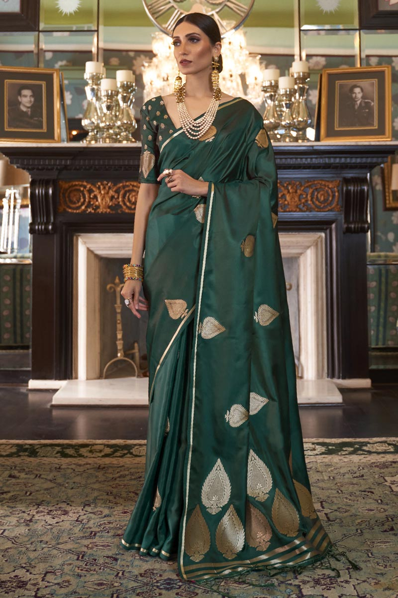 Puja Wear Satin Silk Fabric Fancy Weaving Work Saree In Dark Green