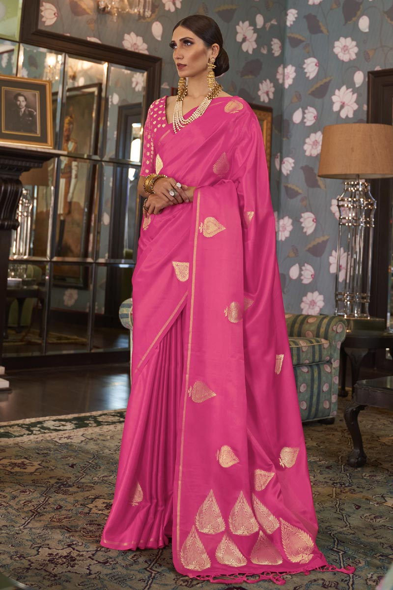 Pink Puja Wear Fancy Satin Silk Fabric Weaving Work Saree