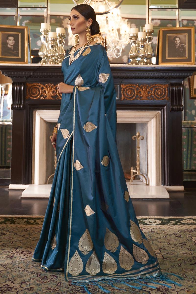 Satin Silk Fabric Fancy Puja Wear Teal Weaving Work Saree