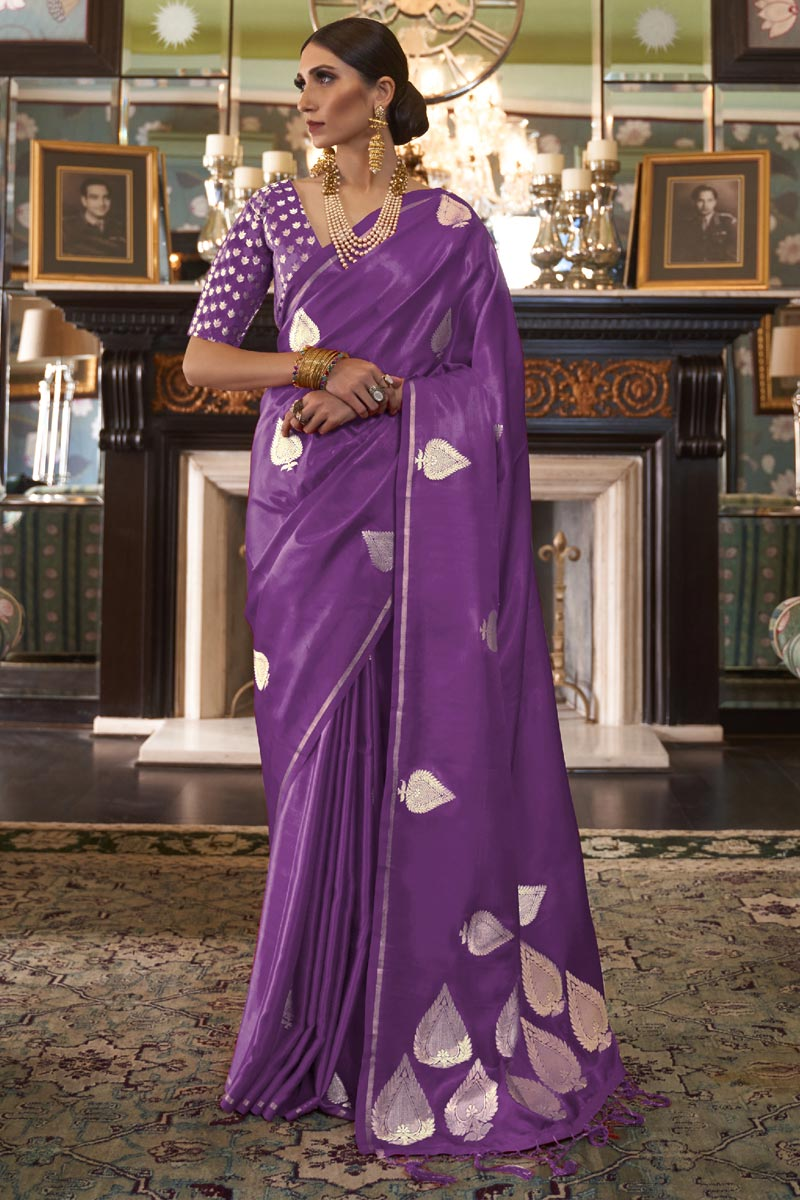 Purple Color Satin Silk Fabric Fancy Weaving Work Party Wear Saree