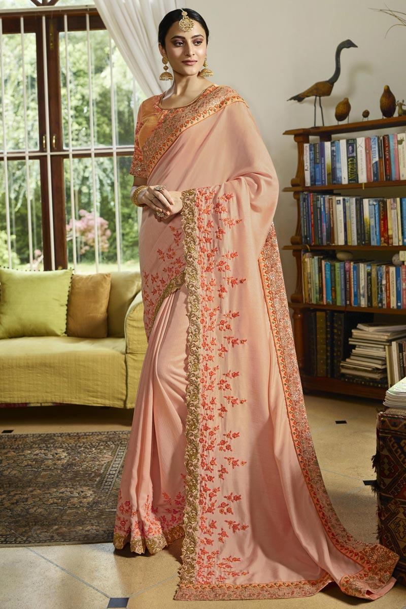 Peach Color Art Silk Fabric Festive Wear Saree