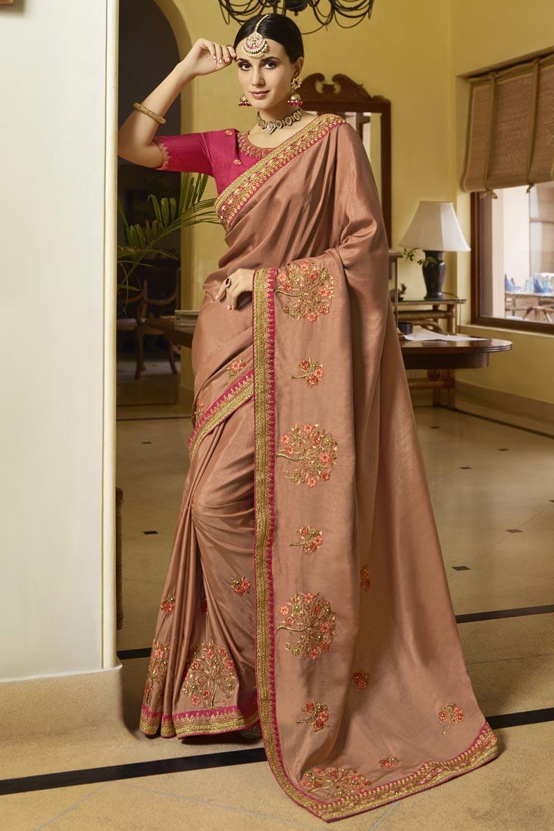 Function Wear Peach Color Saree In Art Silk Fabric