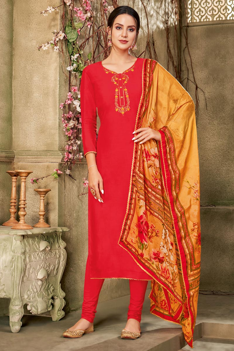Red Color Daily Wear Embroidered Salwar Suit