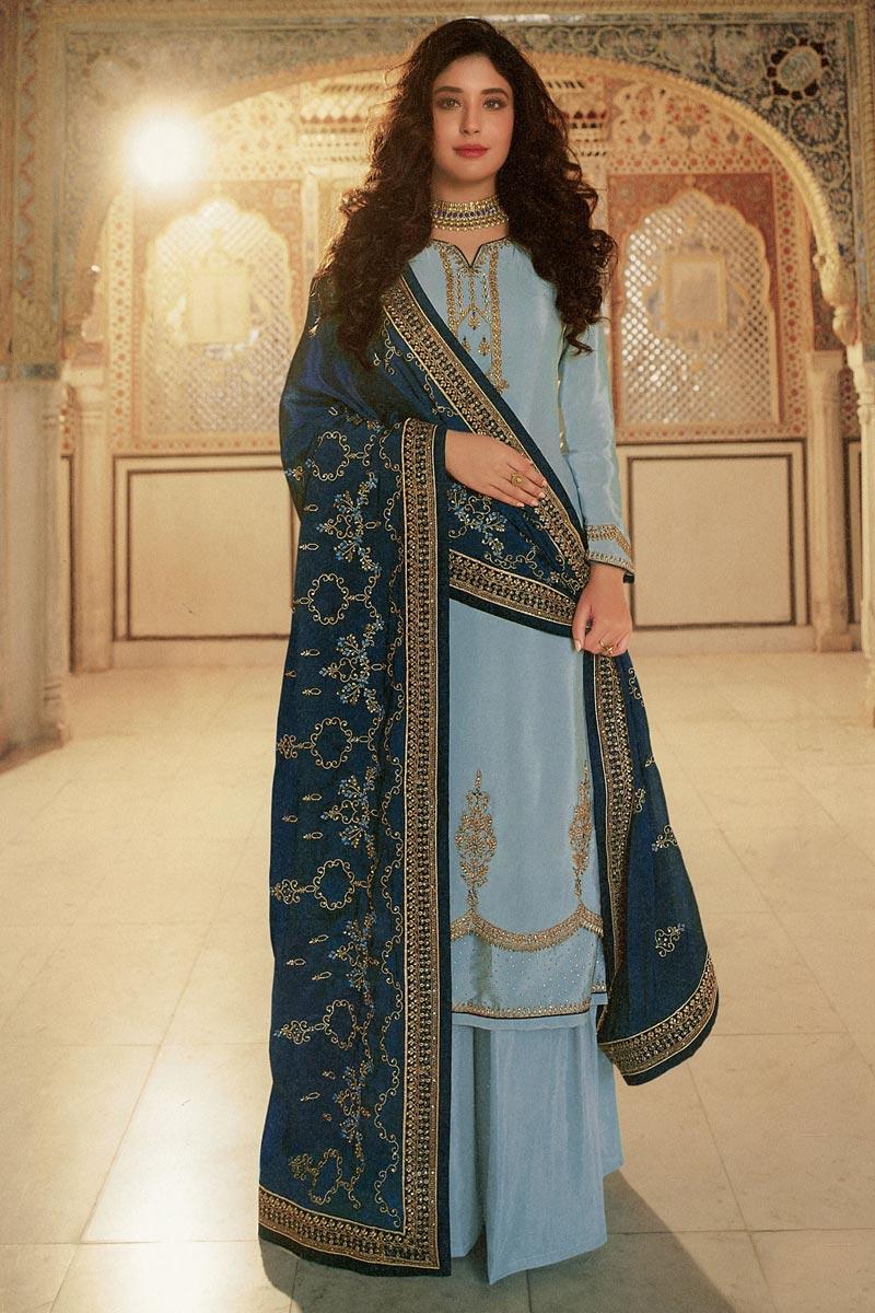 Kritika Kamra Light Cyan Color Georgette Fabric Occasion Wear Palazzo Salwar Suit