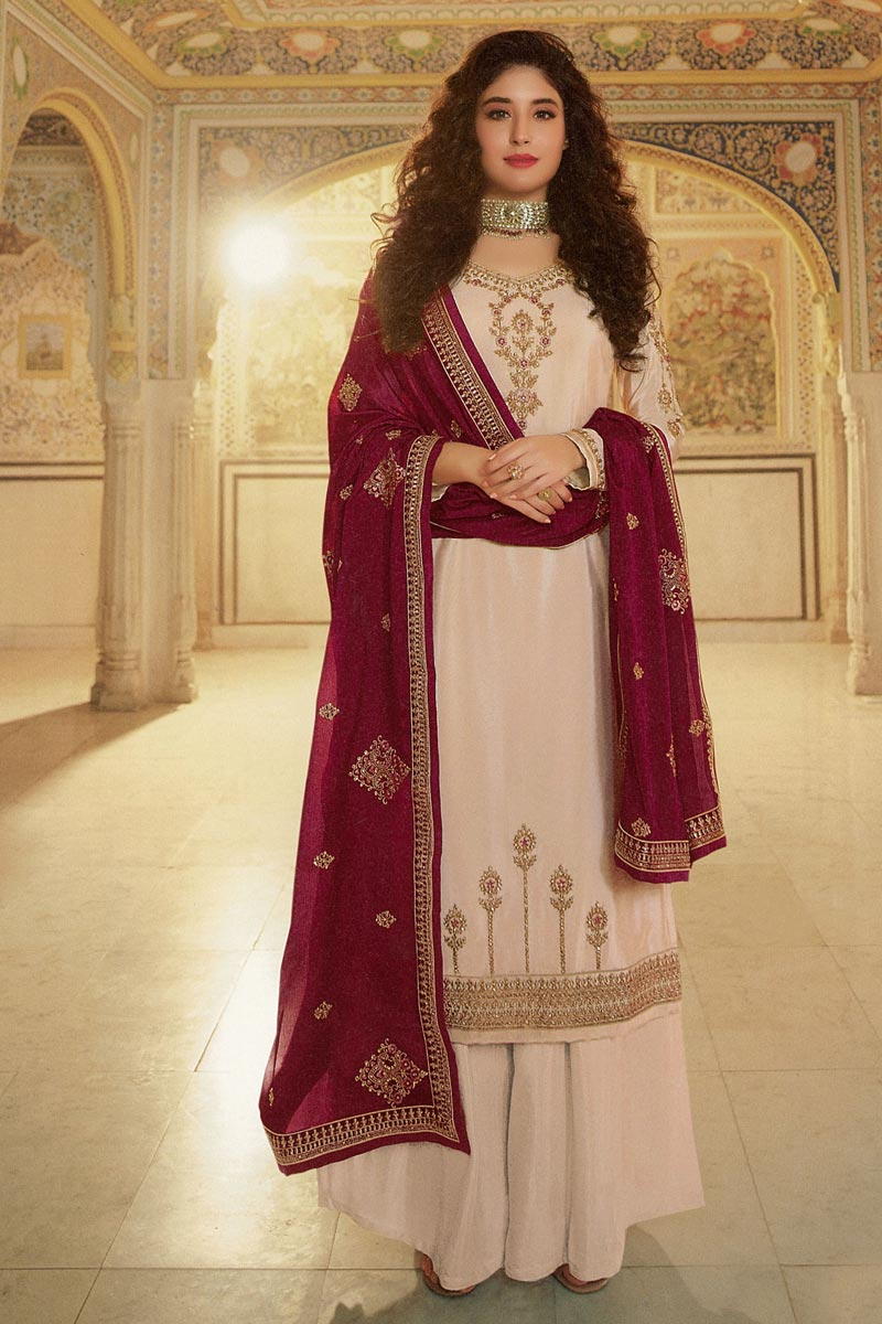 Kritika Kamra Georgette Fabric Cream Color Festive Wear Palazzo Salwar Kameez