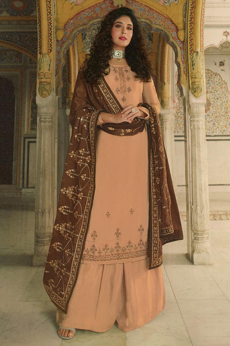 Kritika Kamra Peach Color Georgette Fabric Festive Wear Palazzo Salwar Suit