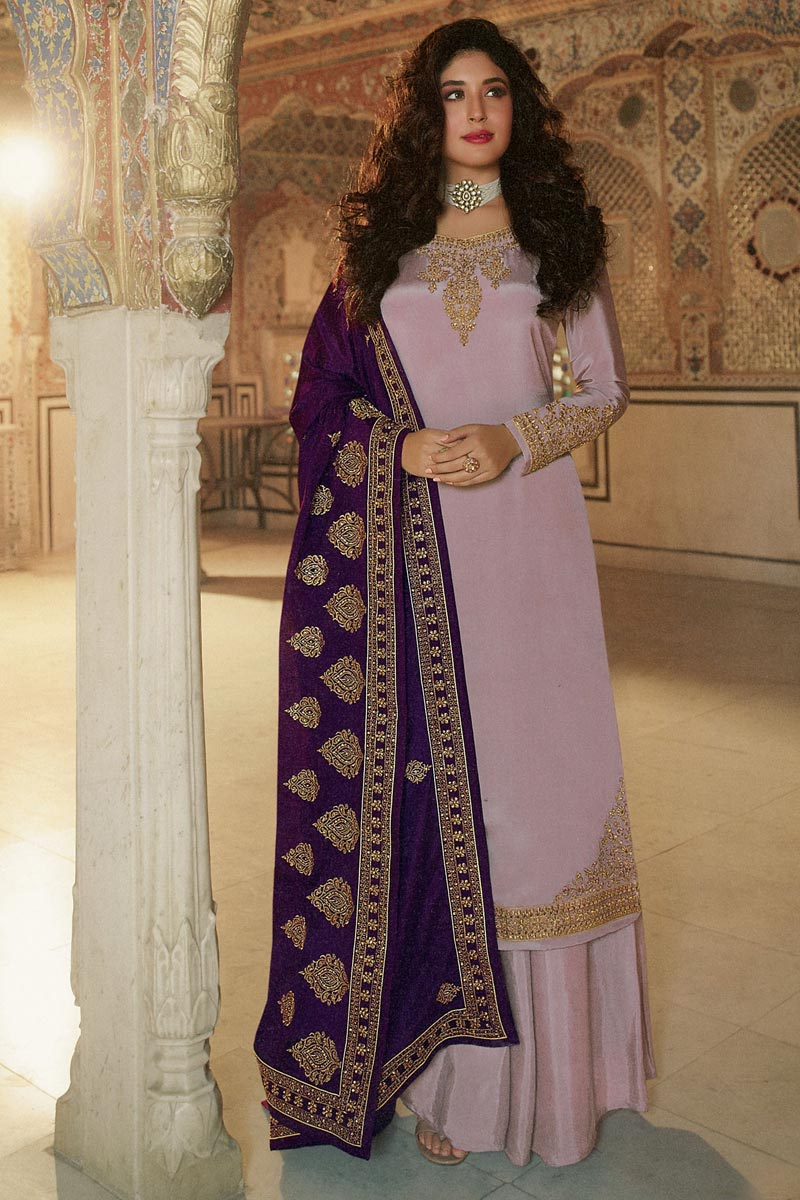 Kritika Kamra Embroidery Designs Georgette Fabric Party Wear Palazzo Salwar Suit