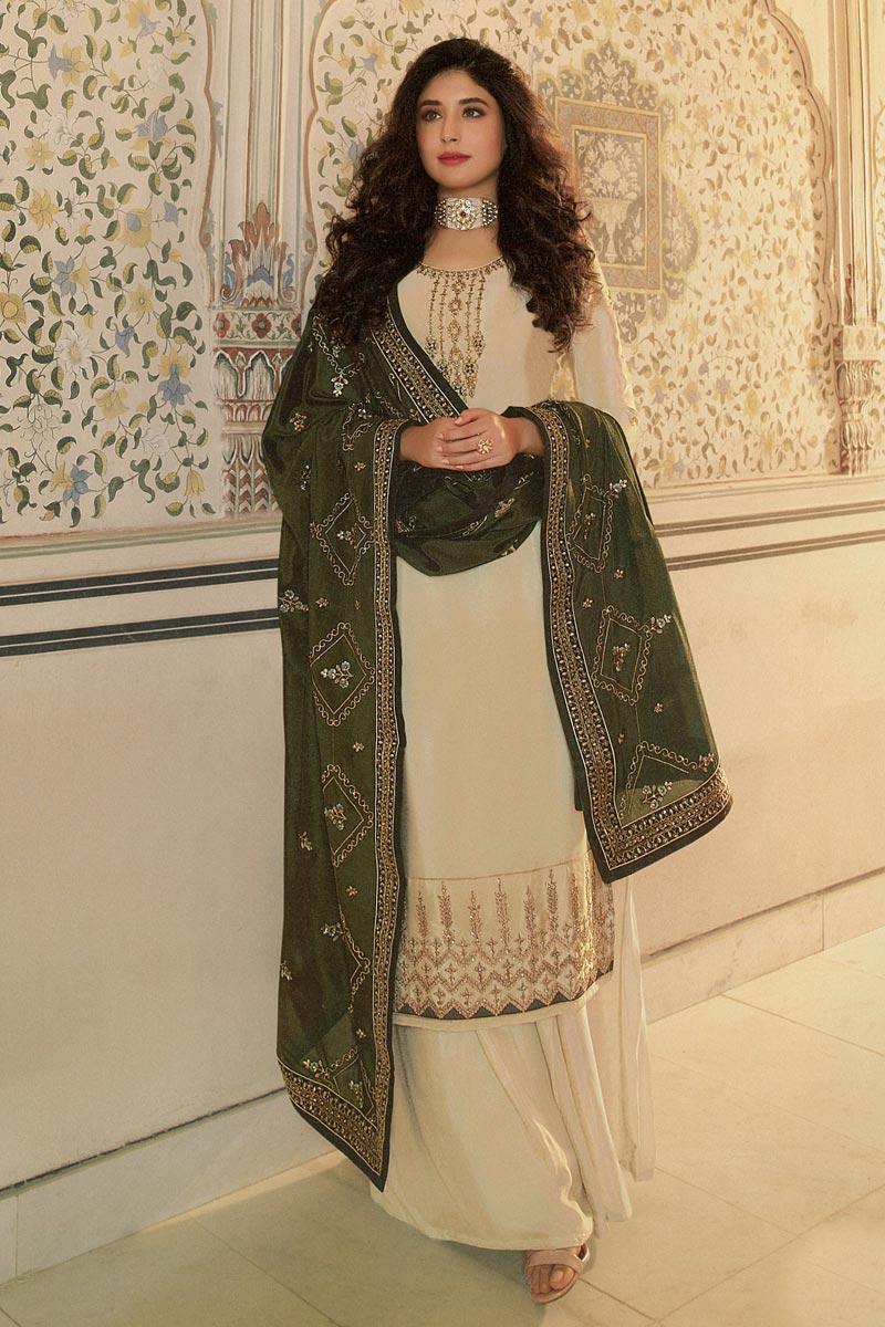 Kritika Kamra Beige Color Georgette Fabric Fancy Embroidery Work Sangeet Wear Palazzo Salwar Kameez