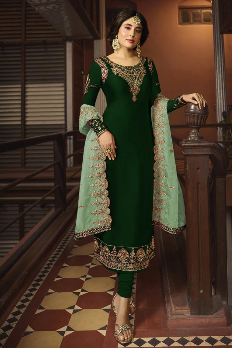 Kritika Kamra Dark Green Color Satin Georgette Fabric Function Wear Embroidered Salwar Suit