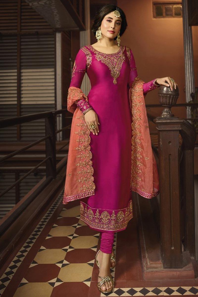Kritika Kamra Occasion Wear Rani Color Embroidered Salwar Kameez