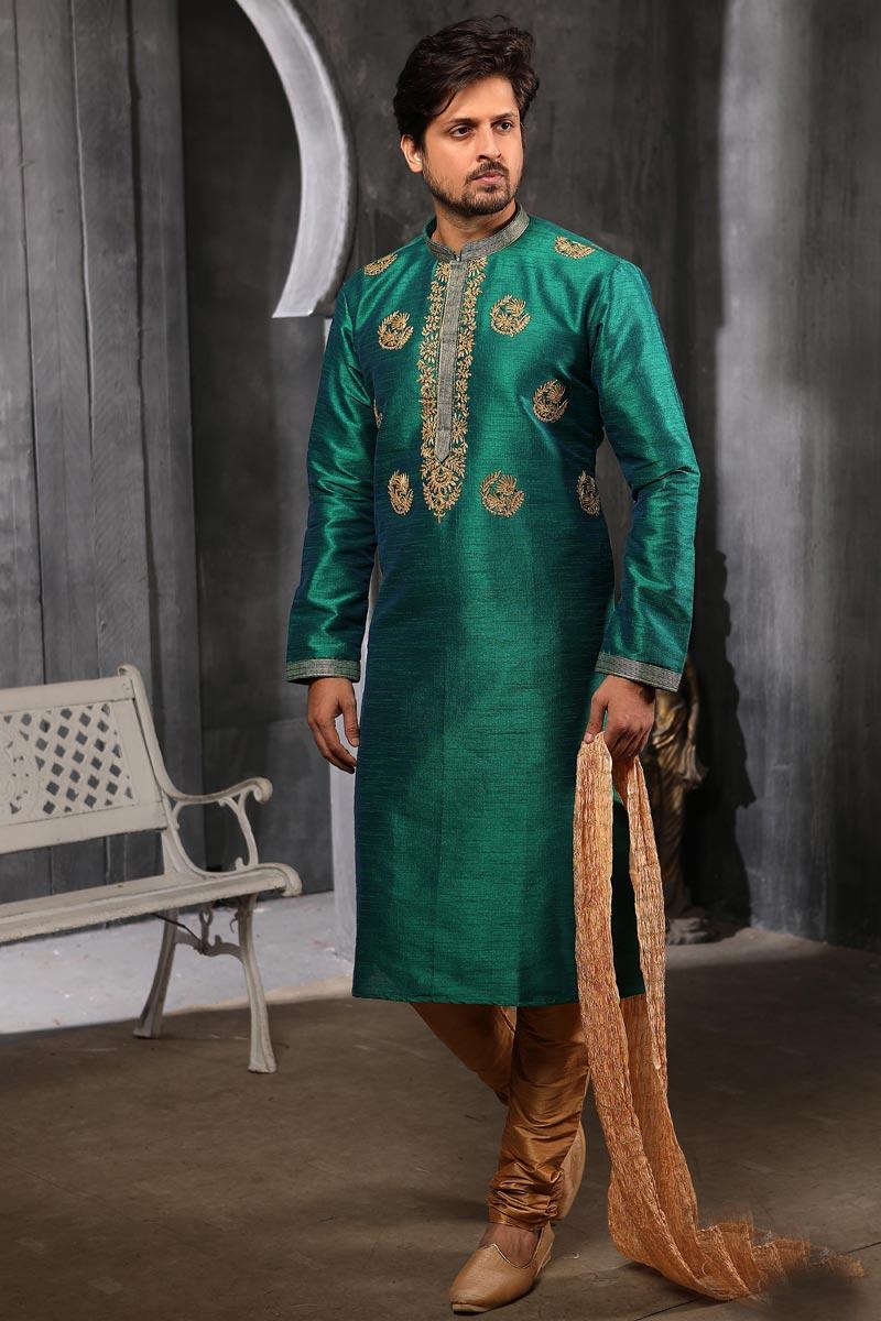 Sangeet Wear Art Silk Fabric Kurta Pyjama In Green Color For Men