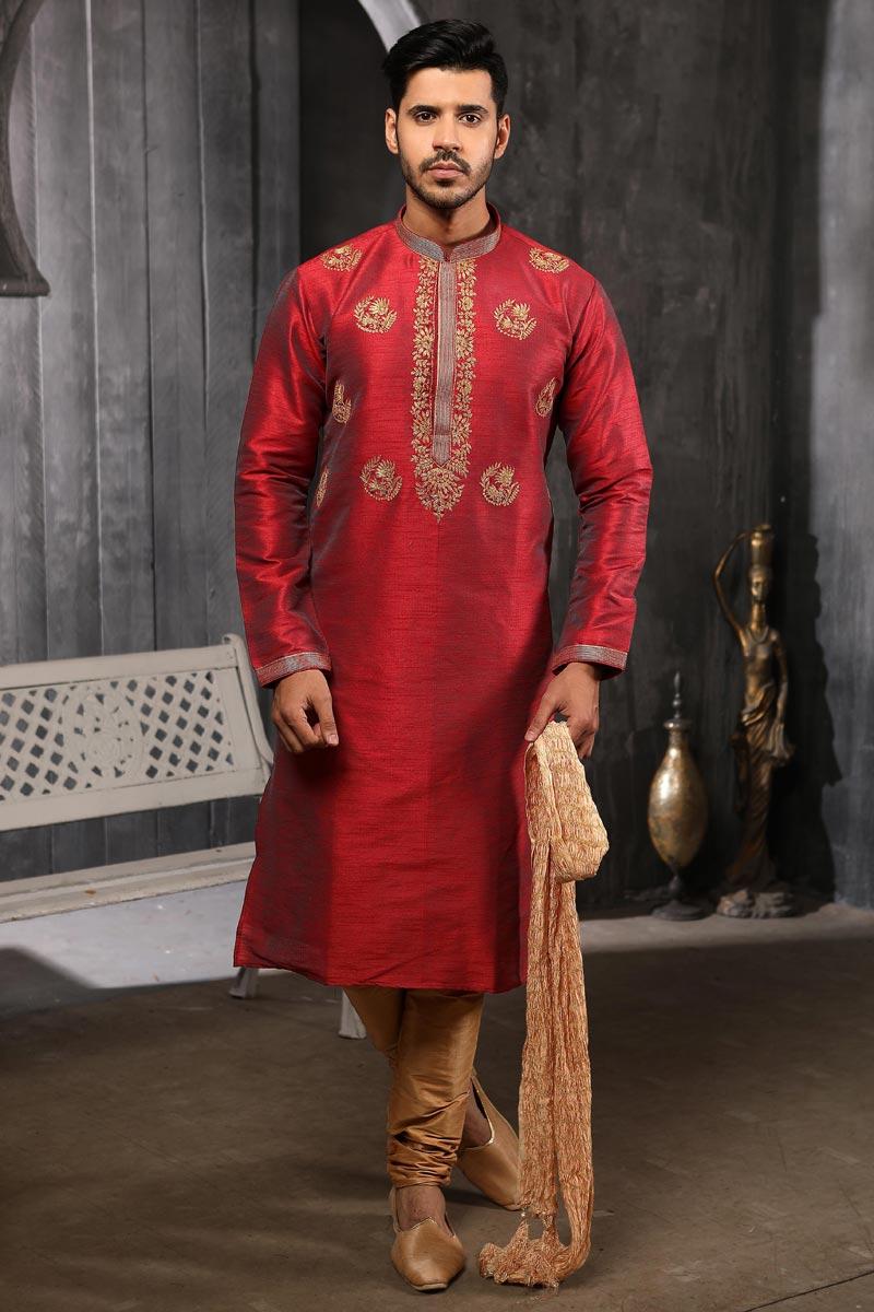 Art Silk Fabric Maroon Color Function Wear Kurta Pyjama