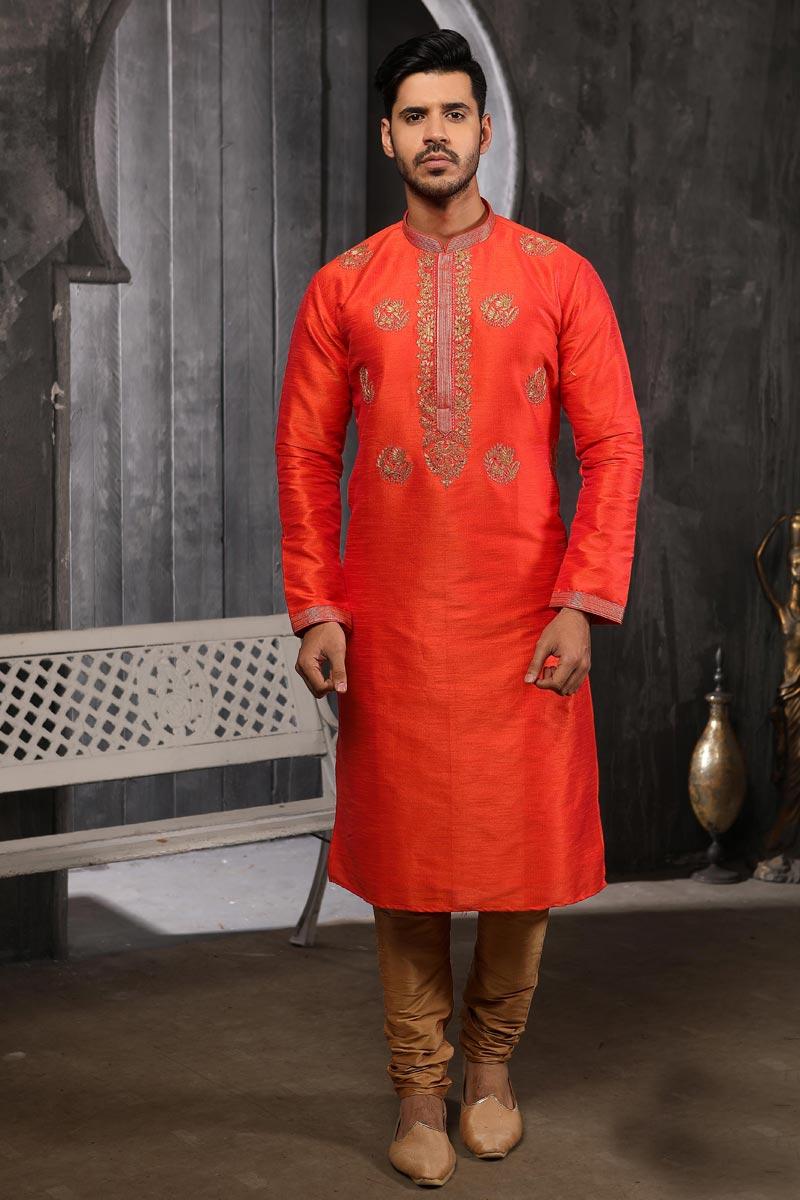 Orange Color Art Silk Fabric Designer Kurta Pyjama