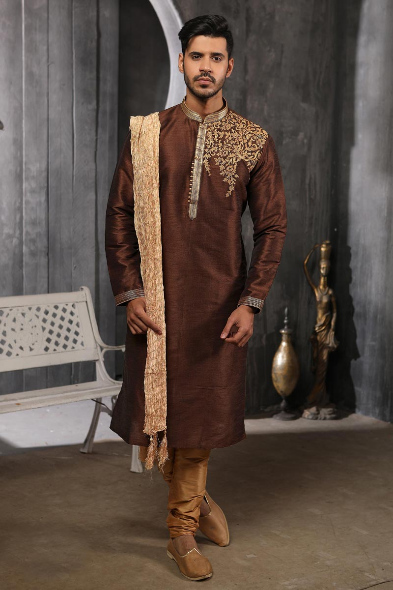 Mens Function Wear Art Silk Fabric Brown Color Kurta Pyjama