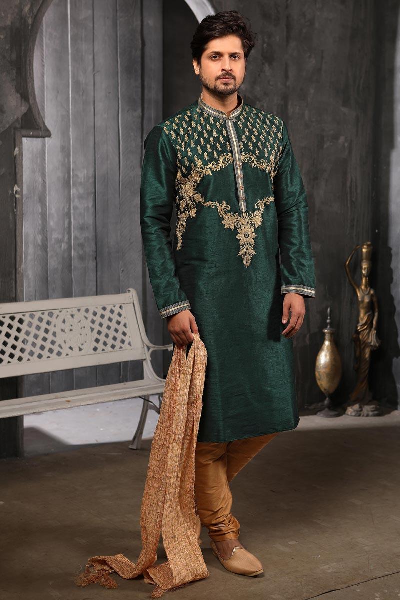 Mens Function Wear Art Silk Fabric Dark Green Color Kurta Pyjama
