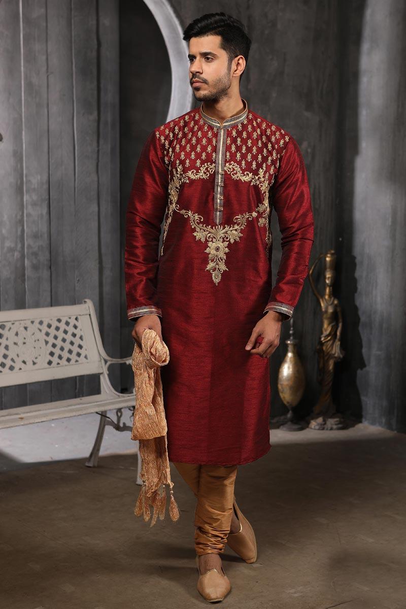 Maroon Color Art Silk Fabric Function Wear Trendy Kurta Pyjama