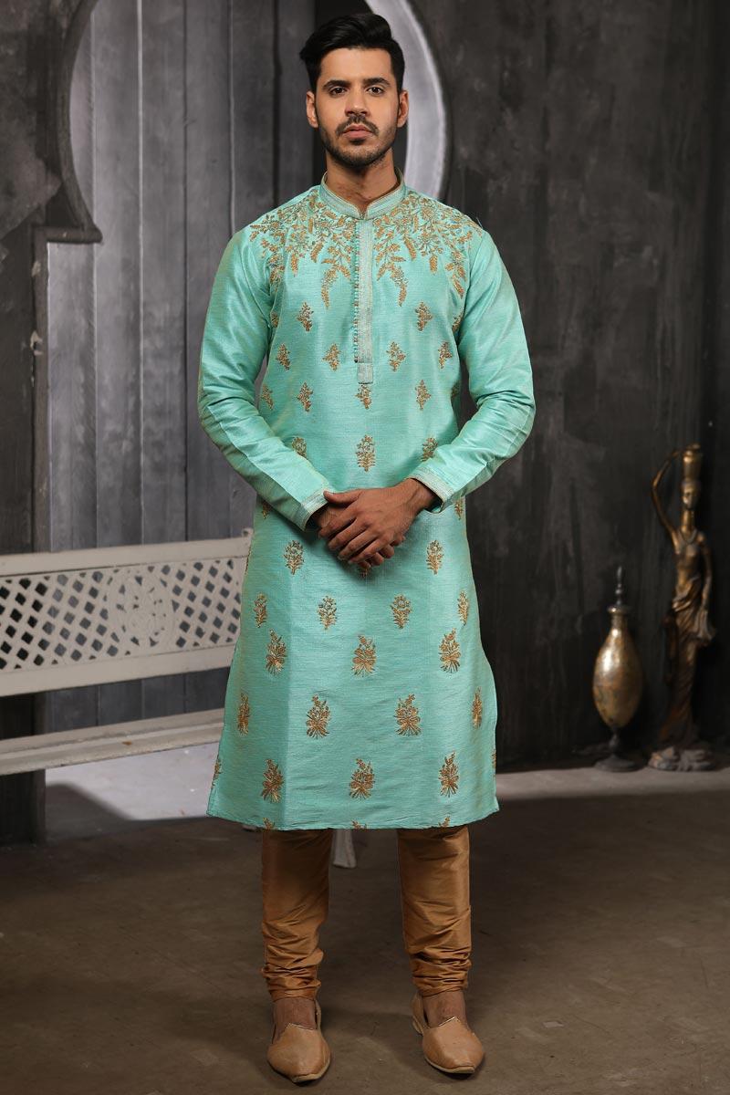Festive Wear Art Silk Fabric Fancy Kurta Pyjama For Men