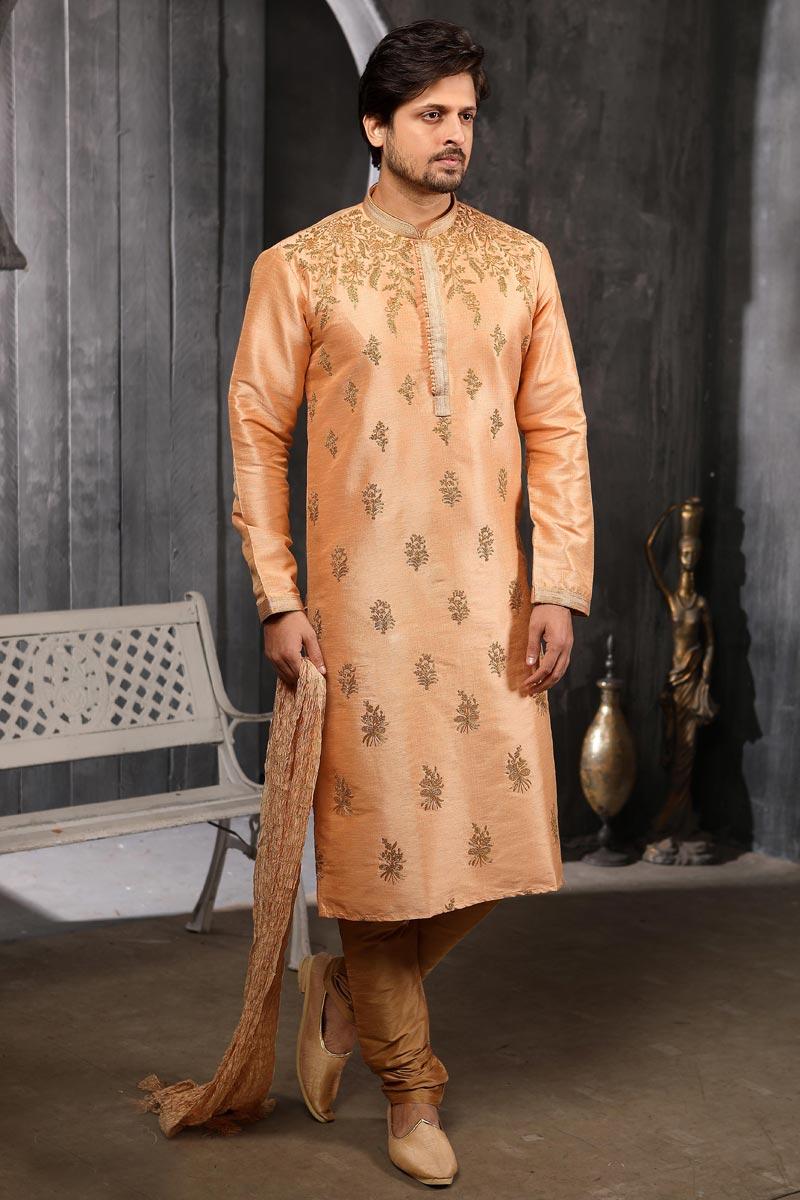 Art Silk Fabric Peach Color Sangeet Wear Designer Kurta Pyjama
