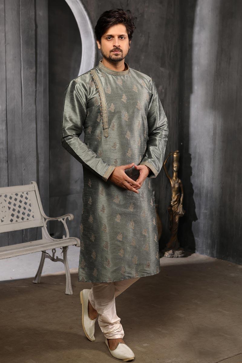 Grey Color Art Silk Fabric Designer Kurta Pyjama