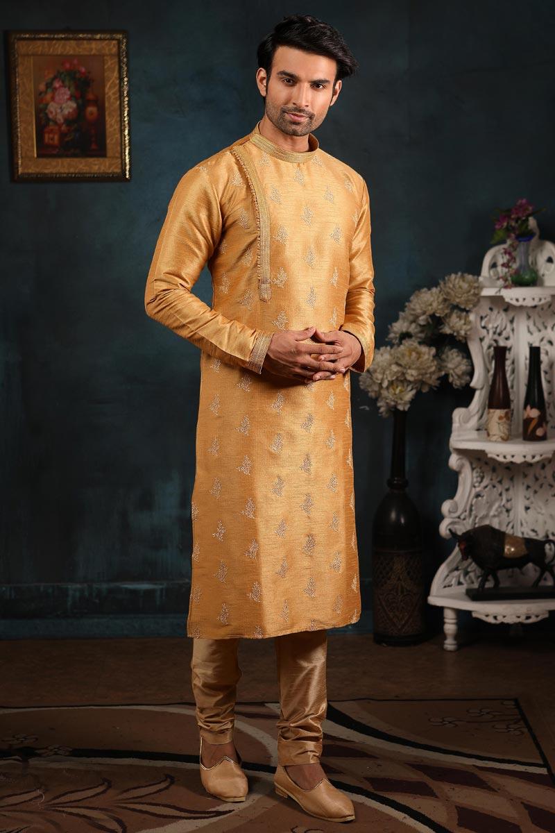 Mens Function Wear Art Silk Fabric Golden Color Kurta Pyjama
