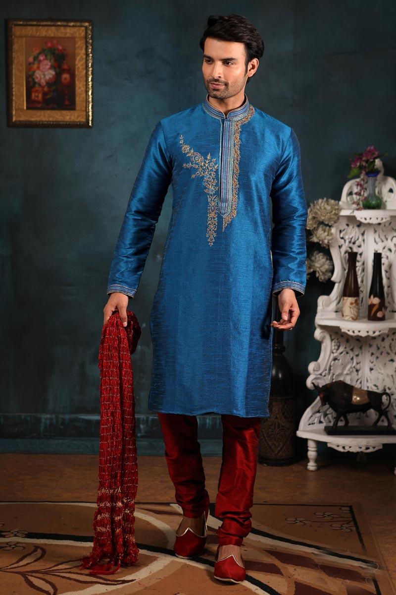 Function Wear Art Silk Fabric Kurta Pyjama In Sky Blue Color