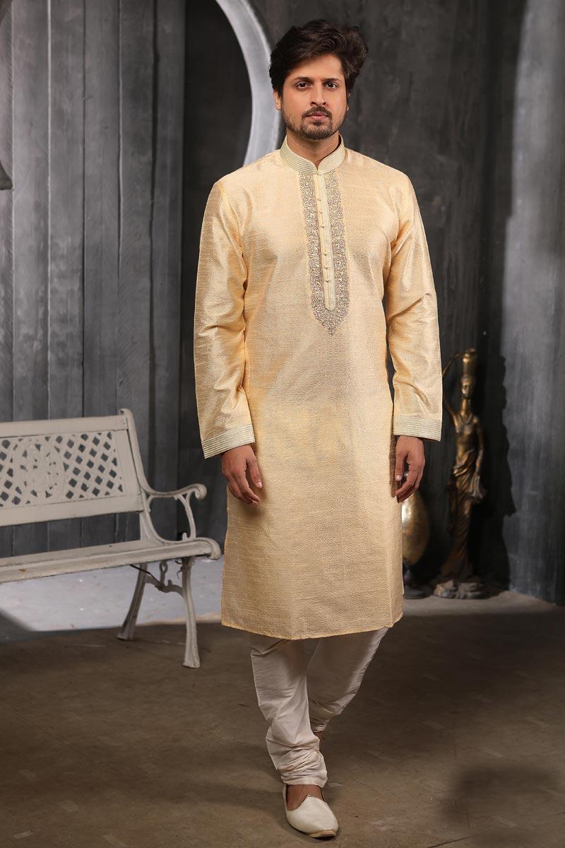 Mens Function Wear Fancy Jacquard Silk Fabric Beige Color Kurta Pyjama For Men