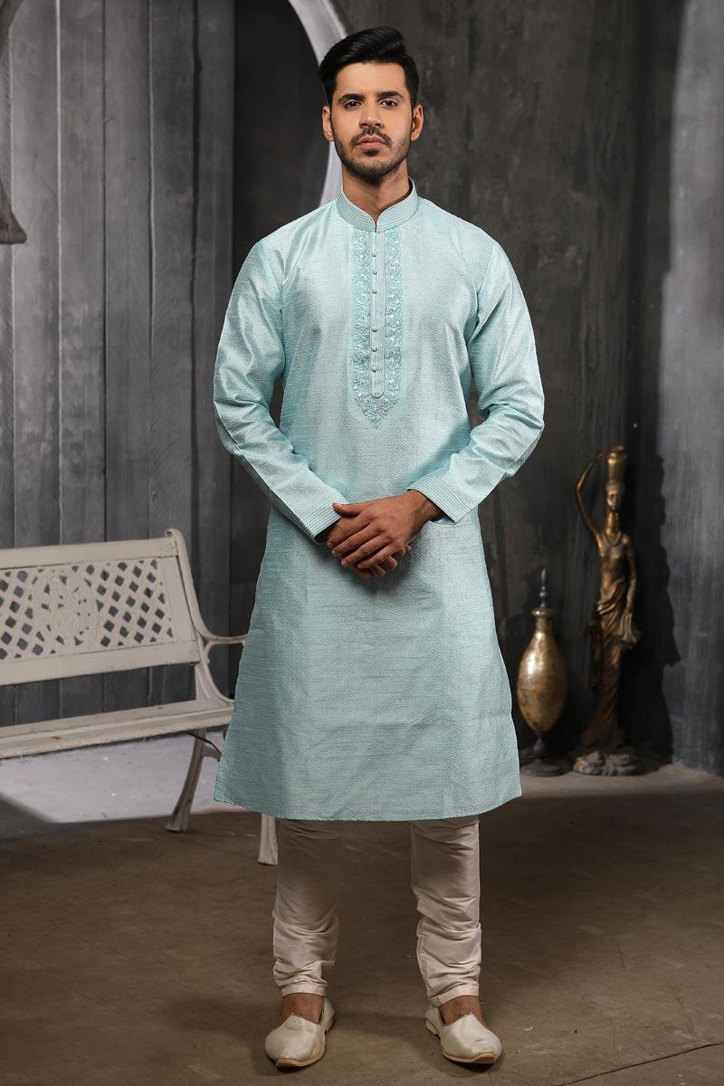 Light Cyan Color Jacquard Silk Fabric Function Wear Fancy Kurta Pyjama