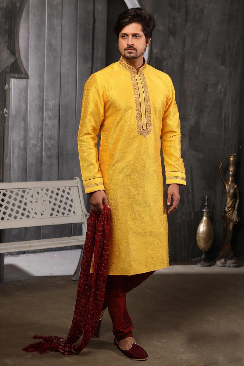 Jacquard Silk Fabric Wedding Wear Stylish Kurta Pyjama In Yellow Color